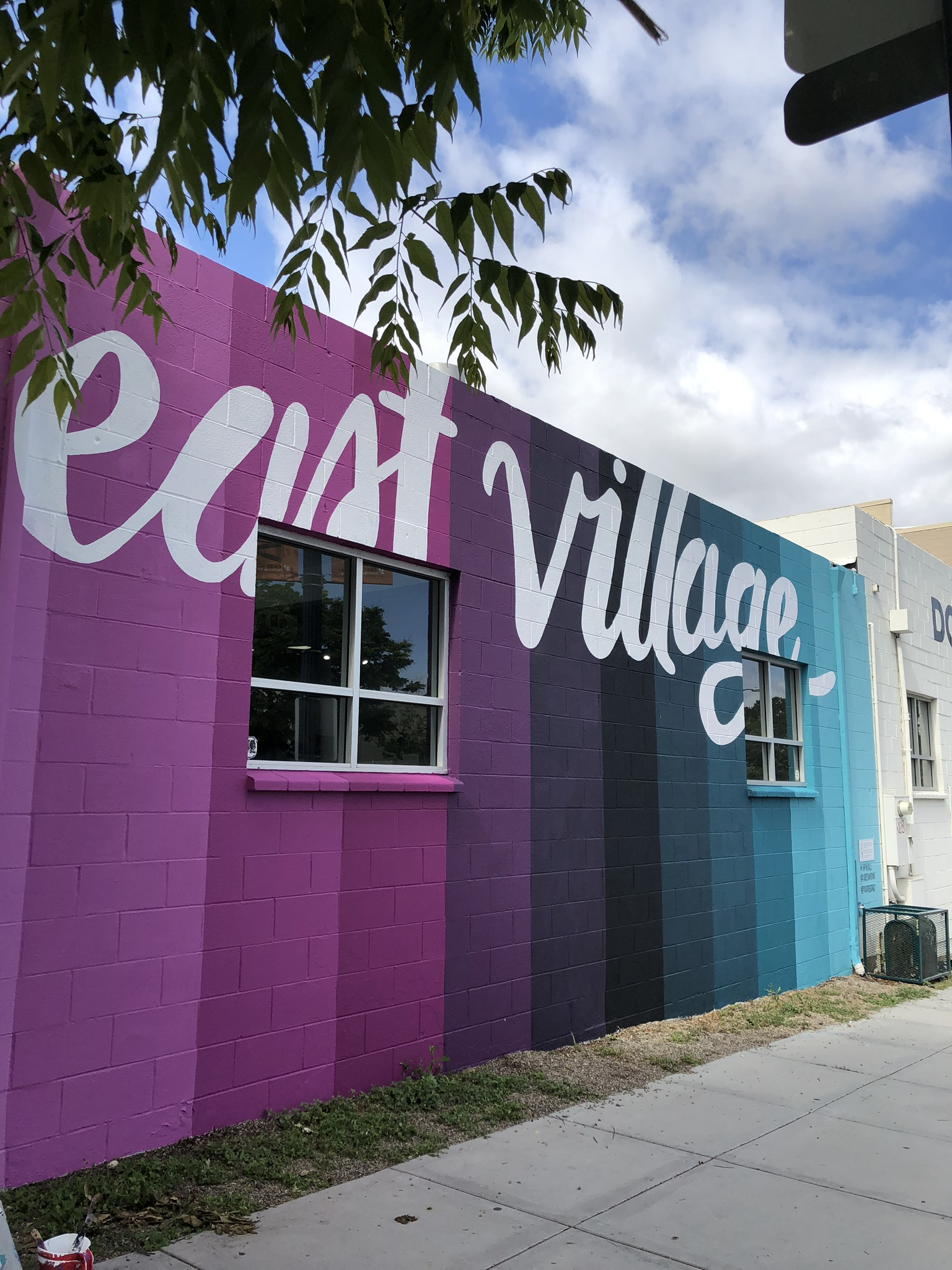East Village San Diego Purple and Blue Gradient Hand Painted Mural