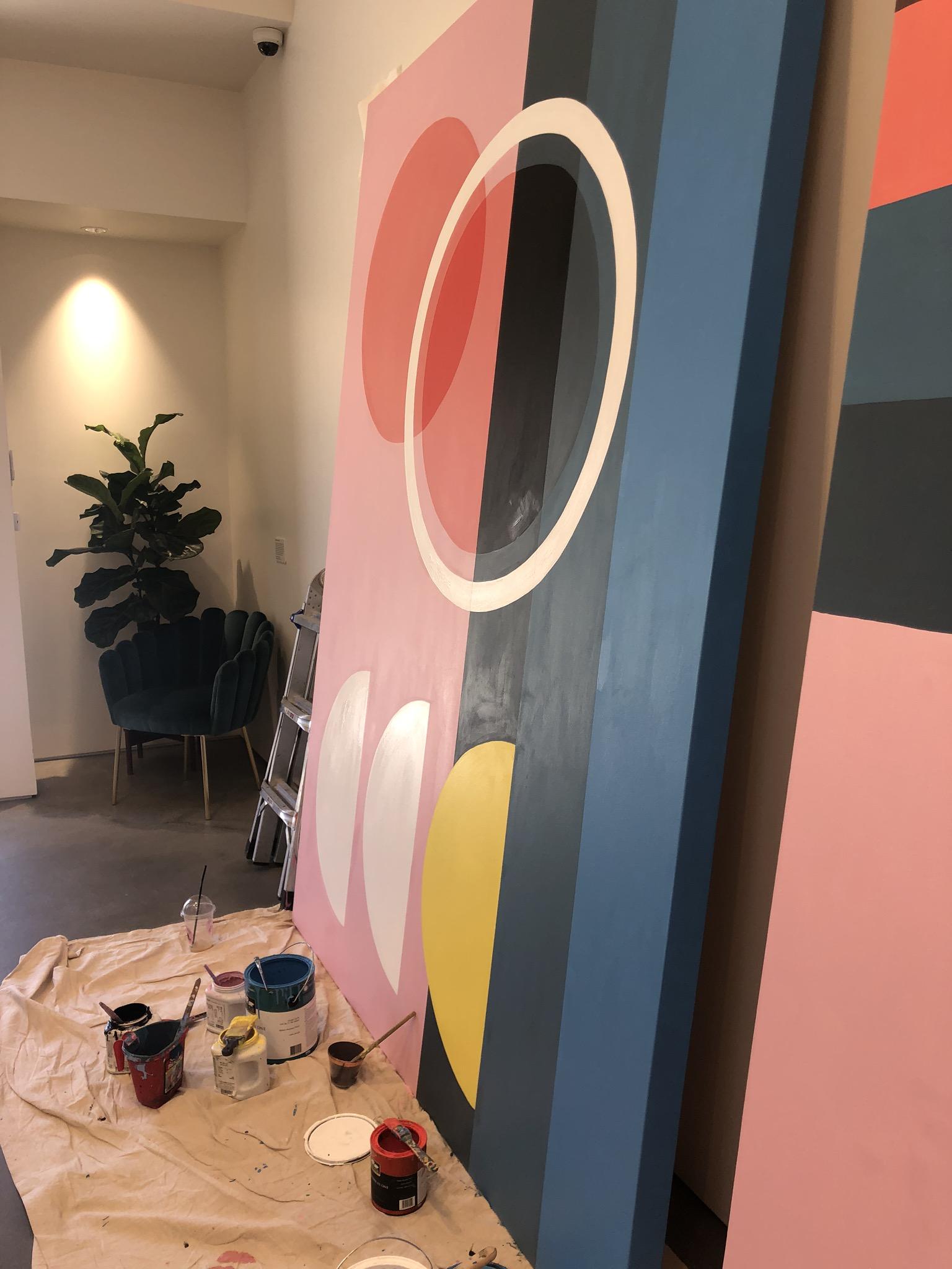 Marrow Fine In Progress Geometric Hand Painted Mural