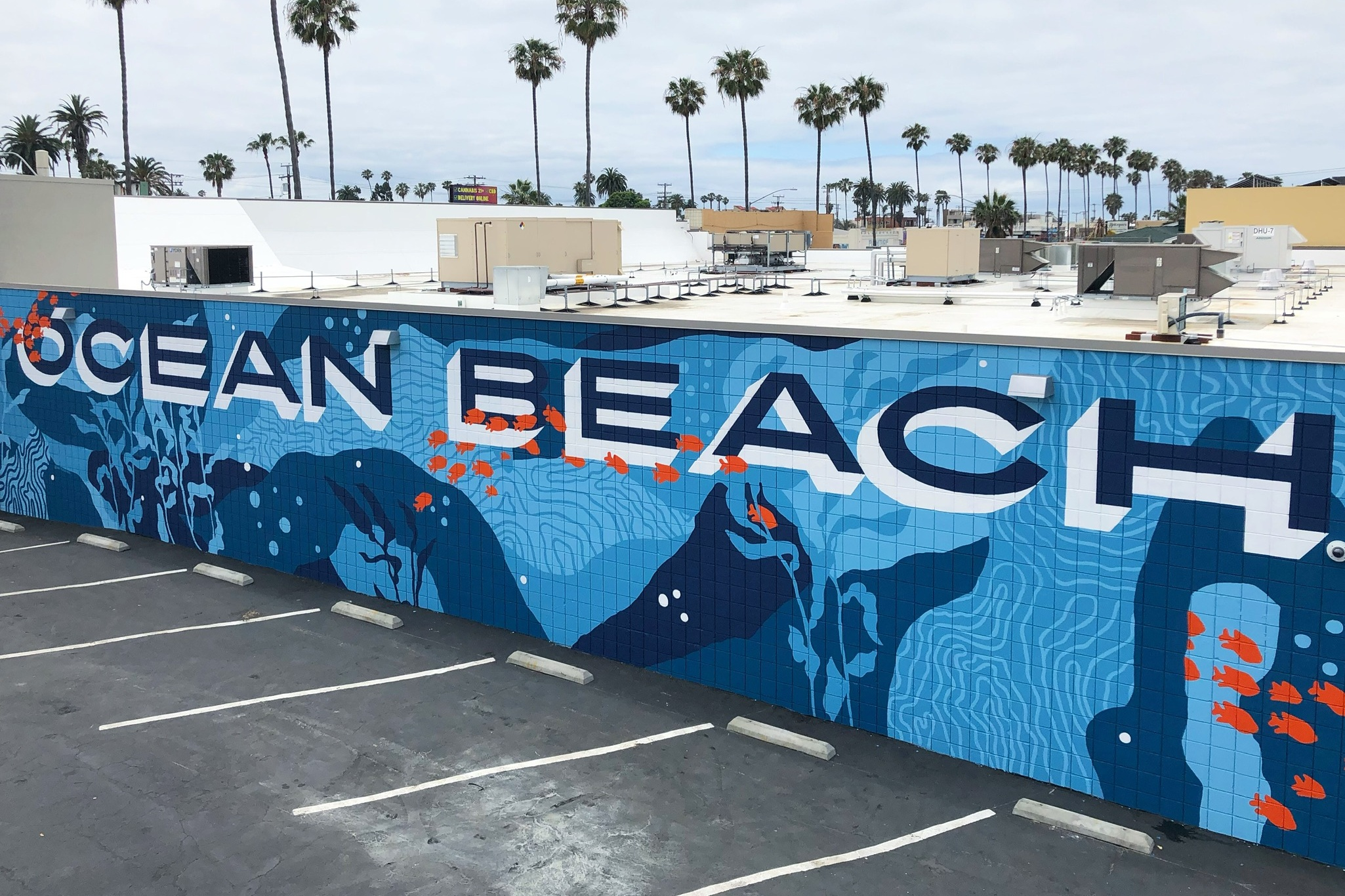 Ocean Beach San Diego Target Mural with Underwater Fish and Reef Formations