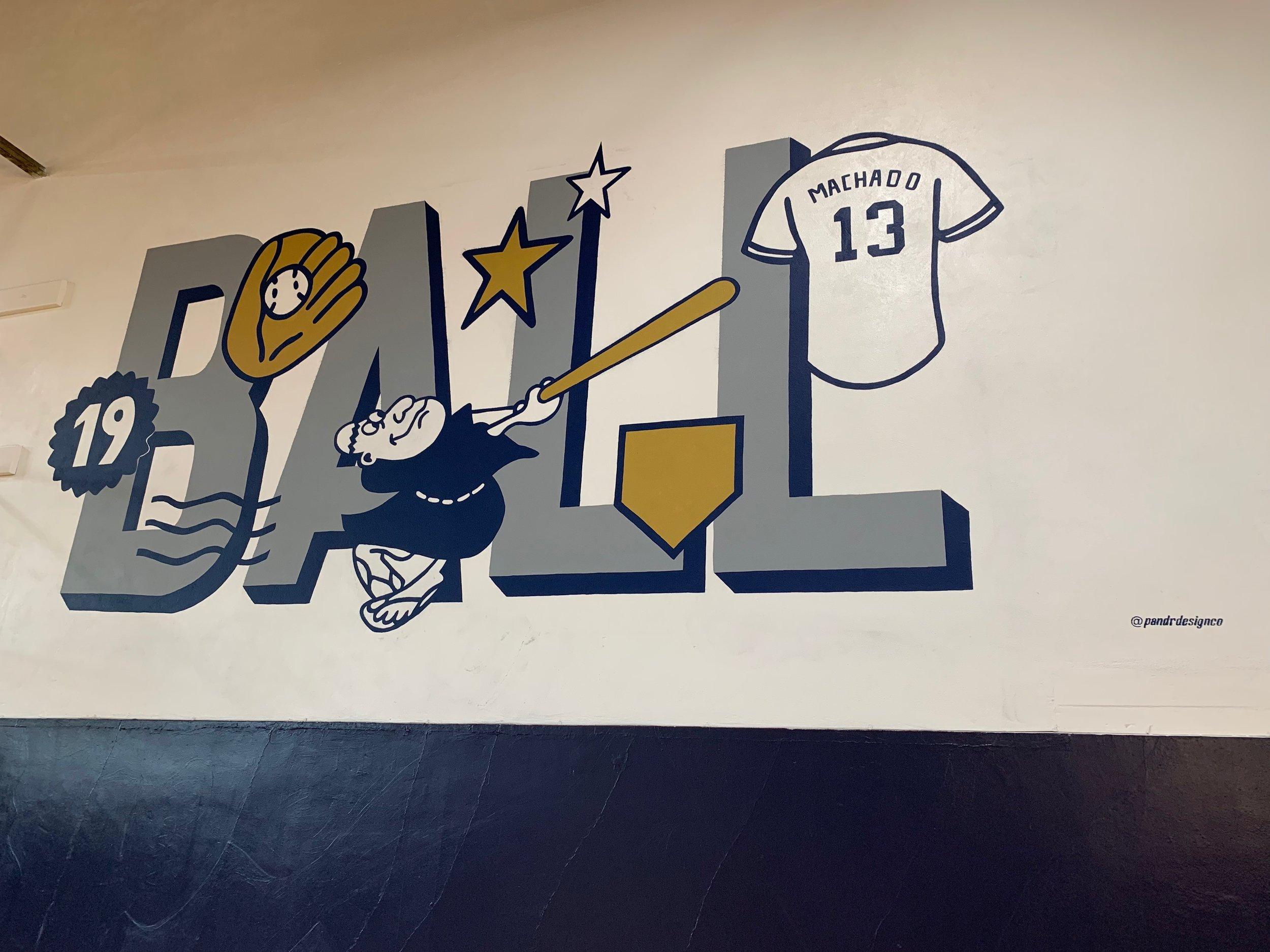 Padres Baseball Friar Logo in Boys and Girls Club Mural