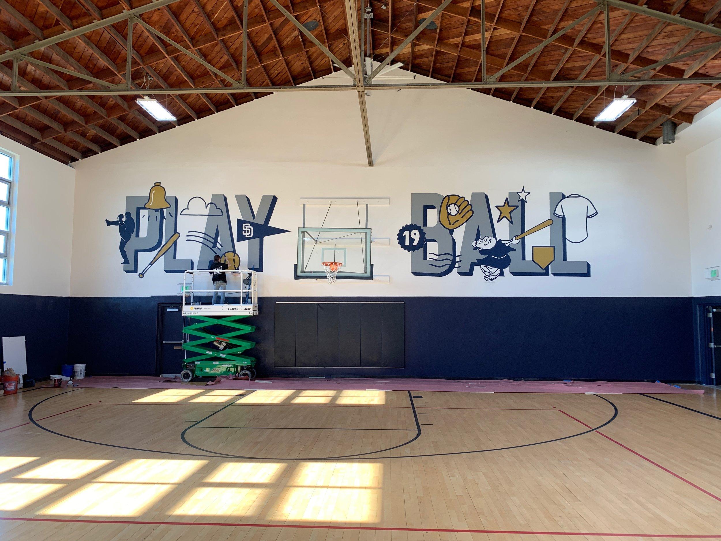 Custom play ball mural for the baseball team, the san diego padres