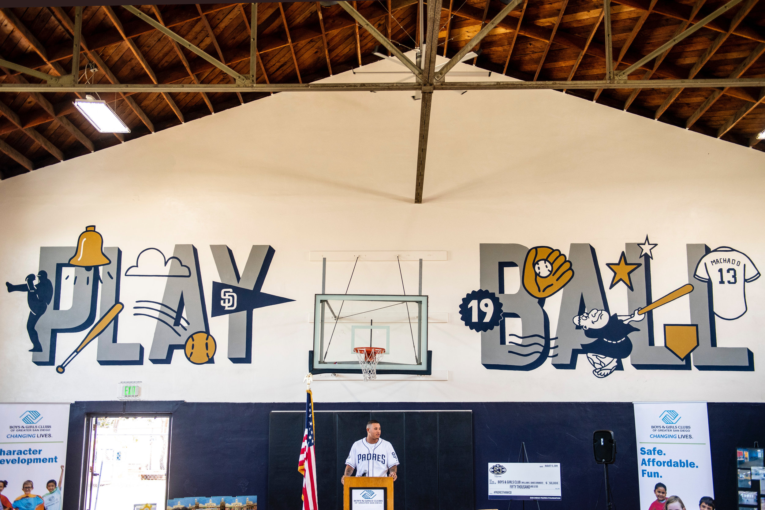Padres Customer Lettering Mural Play Ball MLB with Logos and Players Represented Manny Machado speaking