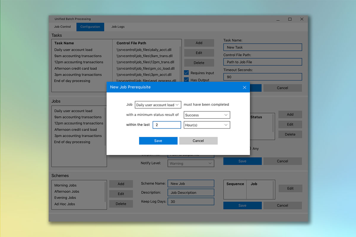 Popup wizard screen for creating a job prerequisite.