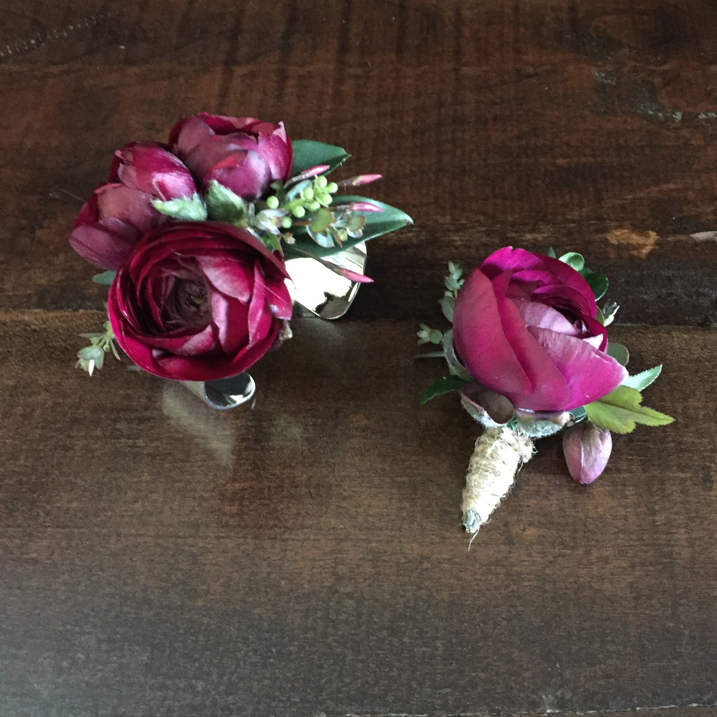 Coordinated Boutonniere and Wrist Corsage