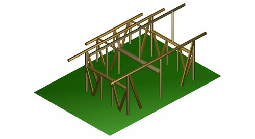 Saltbox small diameter pole timber frame design. The basic framing for completed home pictured below.  Image credit: Eric Lossotovitch.