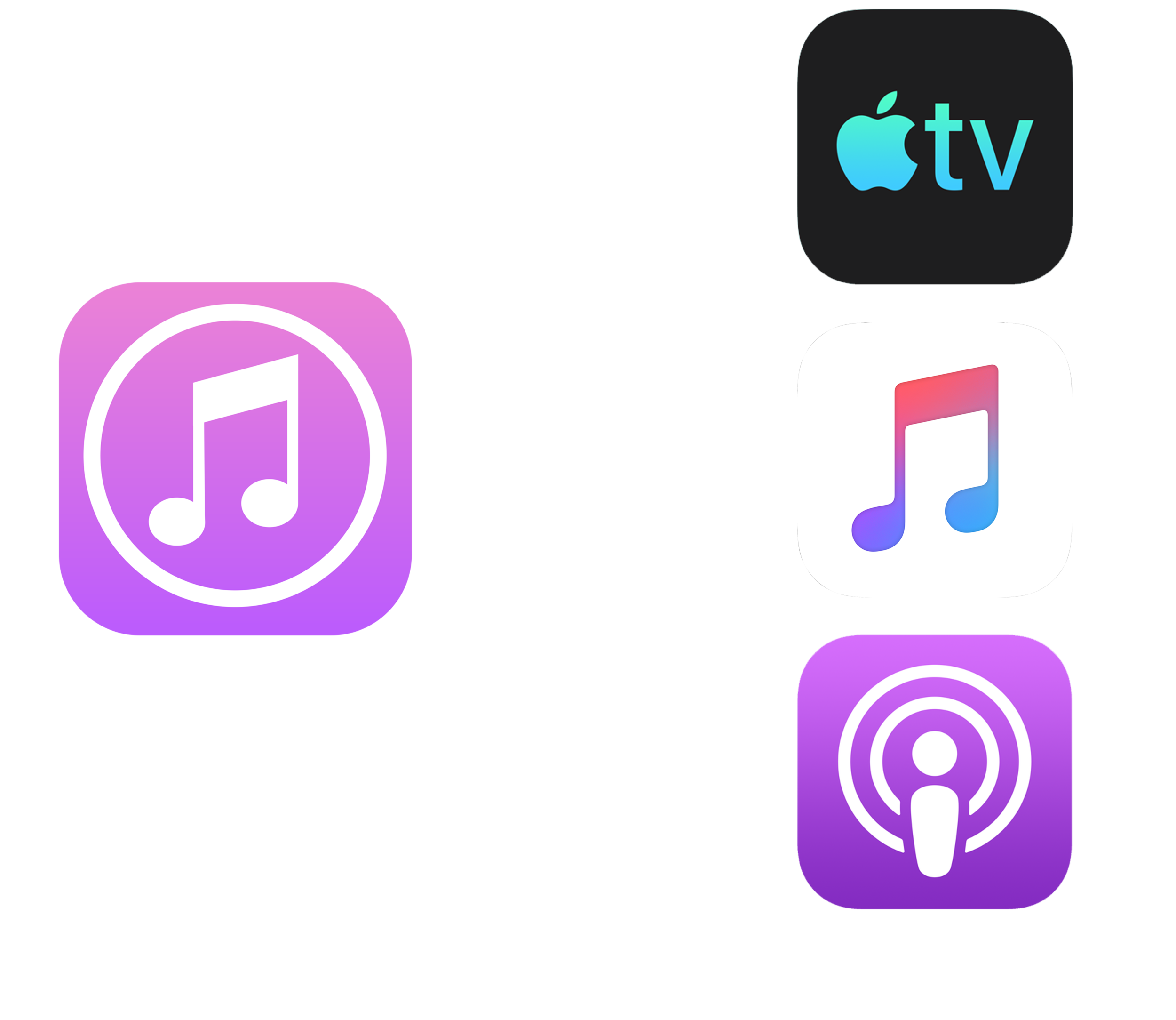 WHAT EXACTLY IS HAPPENING? - Apple will soon be splitting iTunes into specific applications tailored towards each product. Instead of having it all under one roof, now TV (includes Movies), Music, and Podcasts will each have their own apps where you can browse, listen, watch, and purchase content. For more details, see this article.