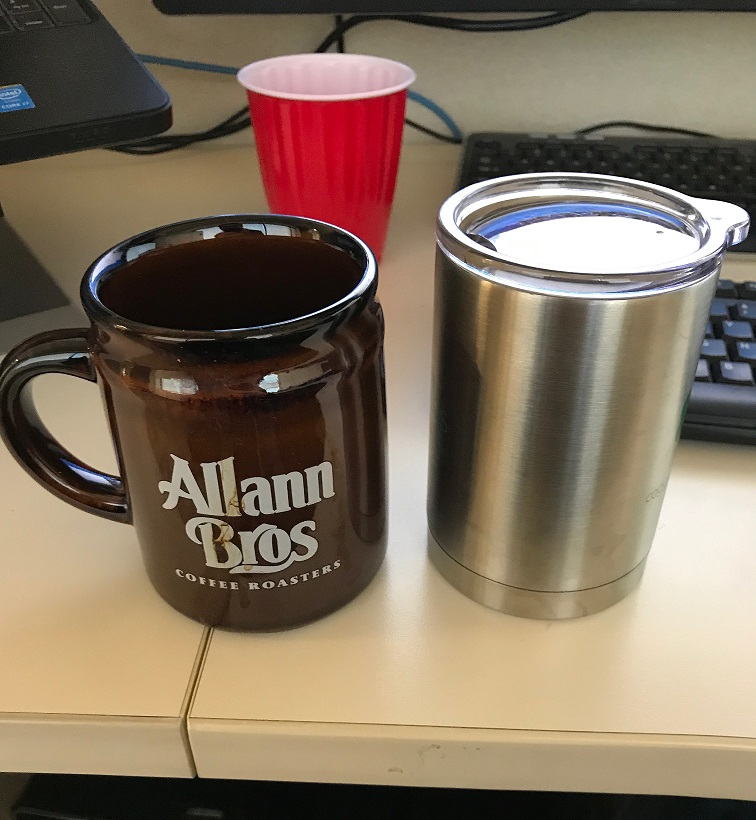 My old style coffee cup on the left and my new style one on the right
