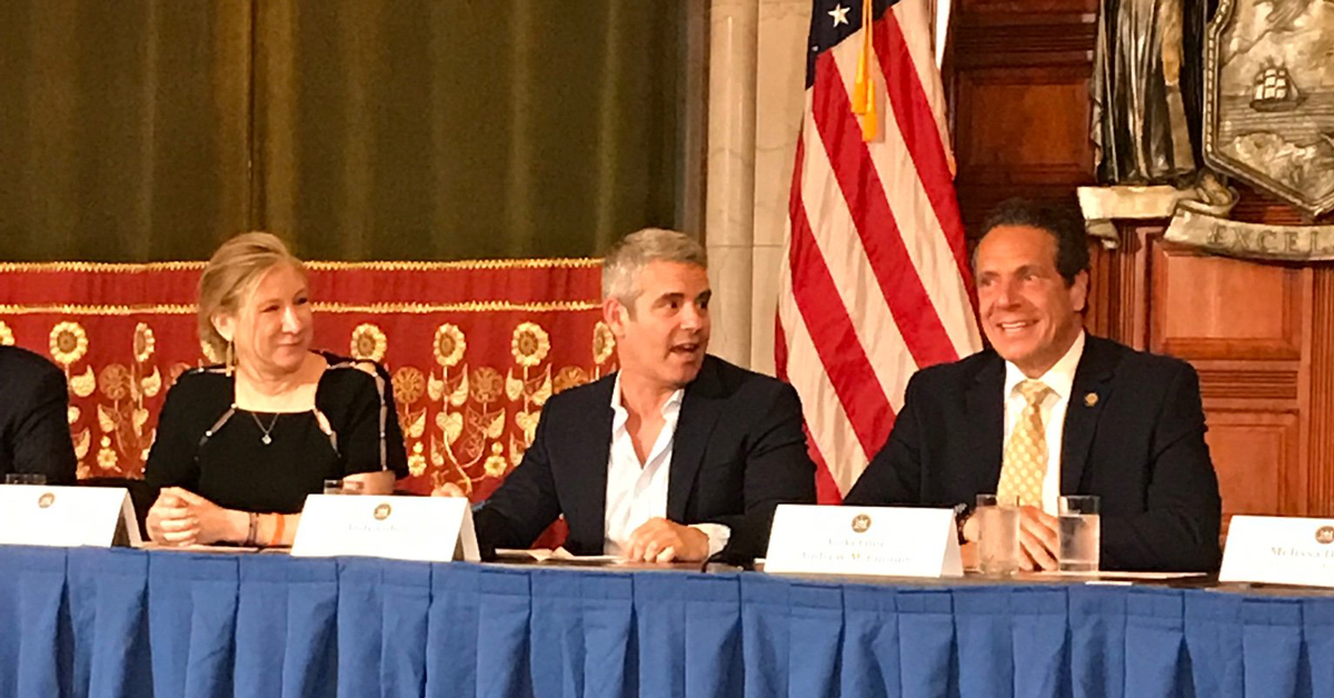 Risa Levine (L), with Andy Cohen (C) and New York Governor Andrew Cuomo (R)