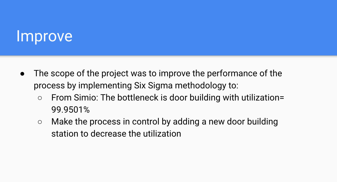 Improve - The main objective of recommended action is to ensure that the utilization and throughput of the processes are in statistical control
