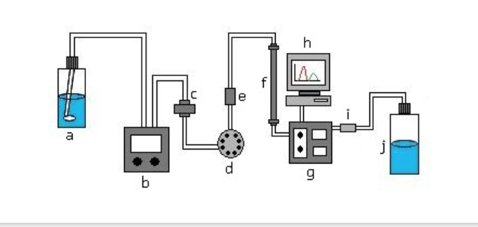 Liquid Chromatography Process - The functional diagram illustrates the liquid chromatography process that is used to detect deviations and manufacturing defects