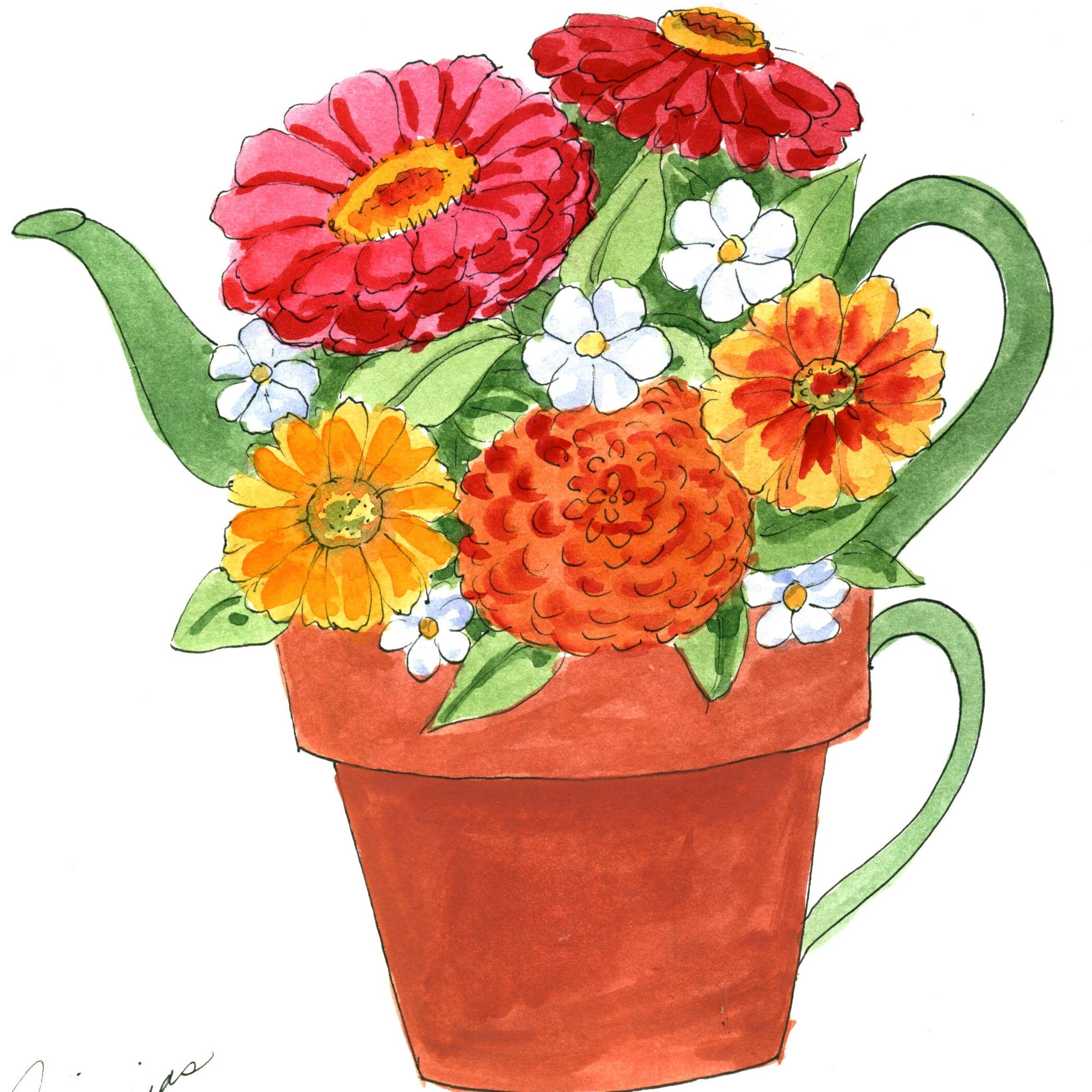 Tea for One Zinnia Flower Pot of Tea