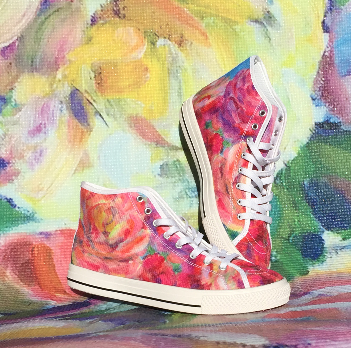 High Top canvas shoes printed with one of my floral paintings