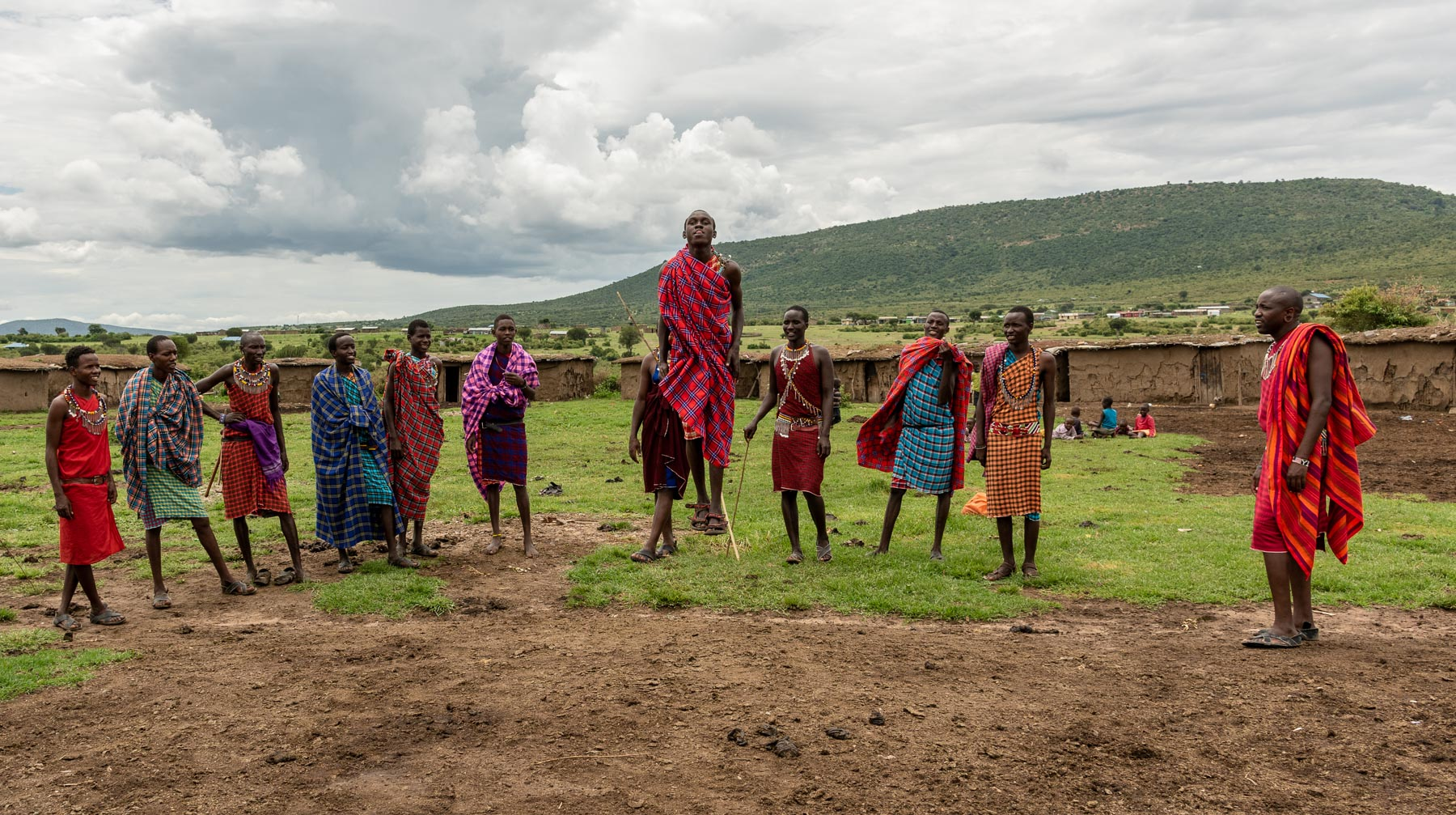 Maasai Warriors welcome us at a local village.