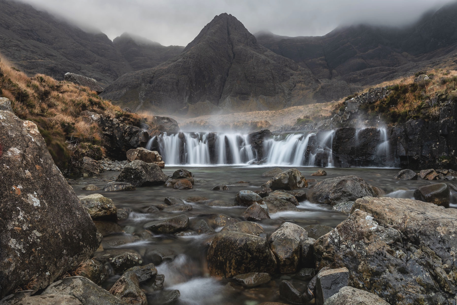 A timely gust of wind added a little more drama to this shot at the Fairy Pools, Isle of Skye