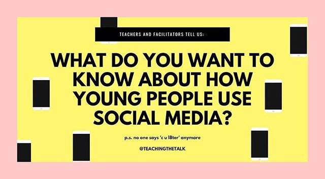 SRE resources tend to fall short on social media - Teachers & Adults Facilitators what do you want to know about social media? Let's learn together! 💪