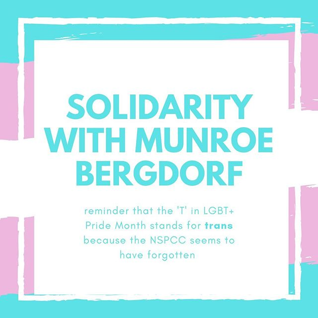 """Young people's organisations and charities must remember that their actions are internalised by the young people they support which makes their position incredibly important."" READ OUR STATEMENT ON THE ACTIONS OF THE @nspcc_official AGAINST @munroebergdorf  Blog and website link in bio"