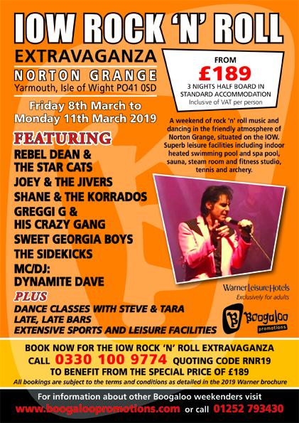 Norton Grange Rock 'n' Roll Extravaganza, Yarmouth, IOW - 8-11 March 2019 - download leaflet