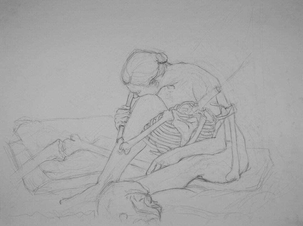 Anatomy Drawing, Model and Skeleton