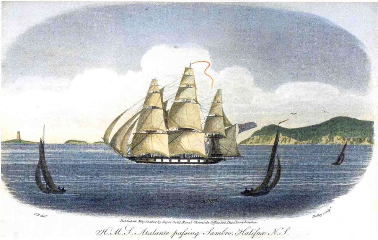 HMS  Atalante , sister ship to Charles Austen's sloop of war, HMS  Indian  (18 guns).