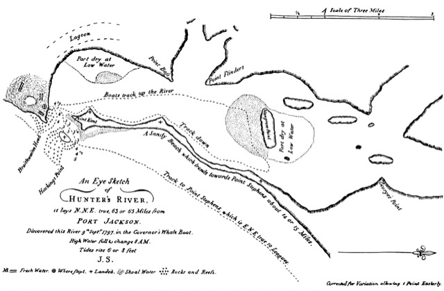 Shortland's map of Hunter's River from the  Naval Chronicle of 1810