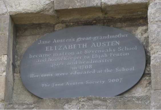 Fig. 7: Plaque to Elizabeth Weller Austen, Sevenoaks School