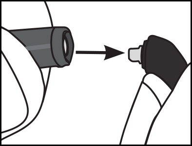 2. Pull the cable connector away from the earphone body. Do not twist. Pull straight out to prevent damage to the key tab.