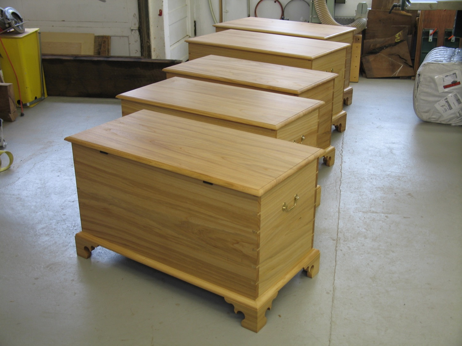 Noroton blanket chests - elm , a cherished tree cut and converted on the client's property, five of five, one for each family member