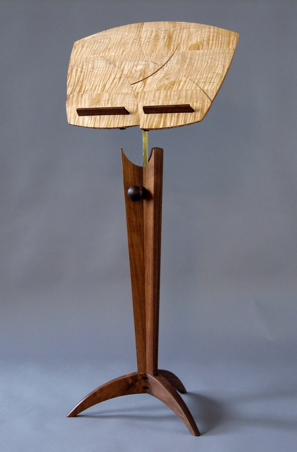 Pizzicato- walnut, curly maple, this one is the last of seven individuals made and is still availble