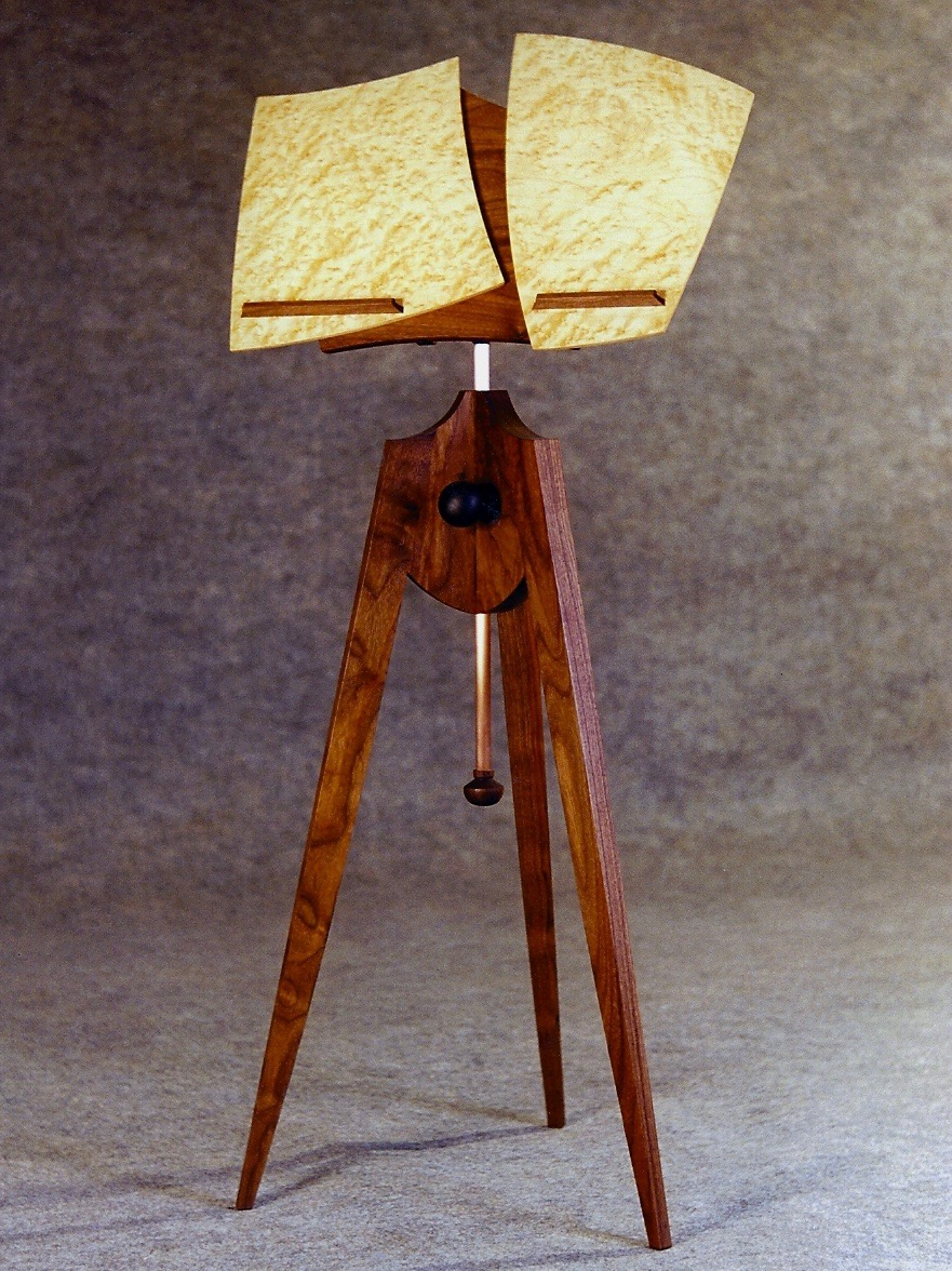 Muraki- walnut ,birdseye maple, the first of many music stands, this one designed for a flutist