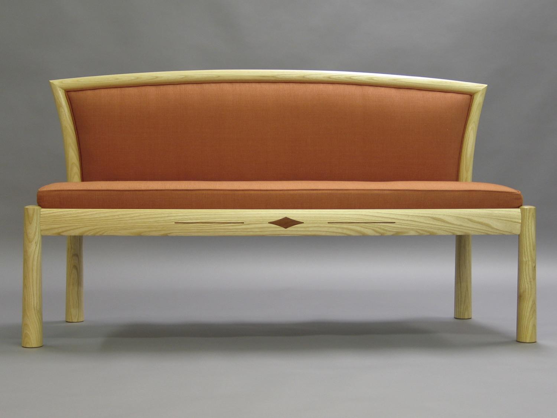 Hayward settee- ash, Cuban mahogany inlay, upholstery