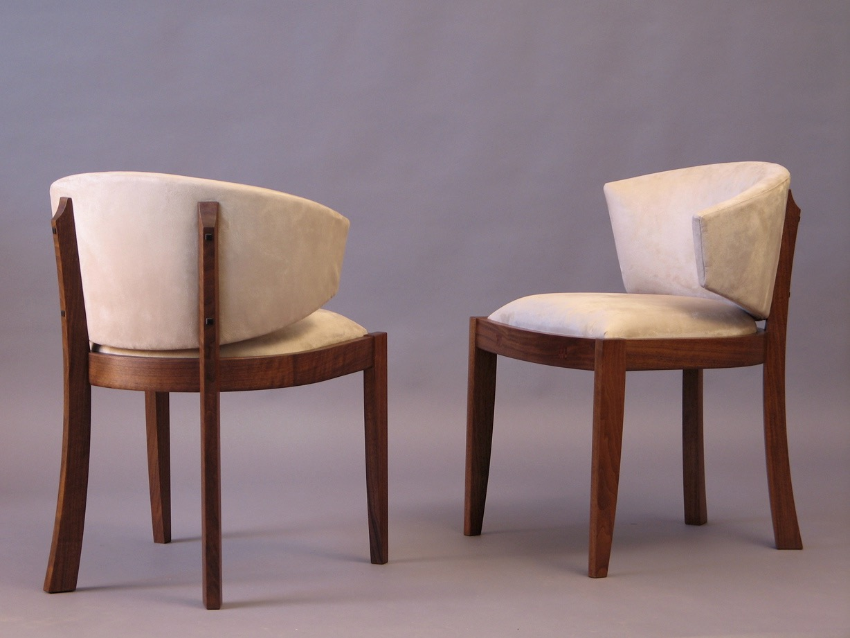 Gold chess chairs- walnut, upholstery