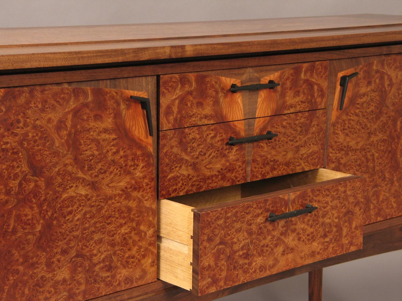Cunard detail - hand-cut dovetail drawers, hand carved bog oak drawer pulls