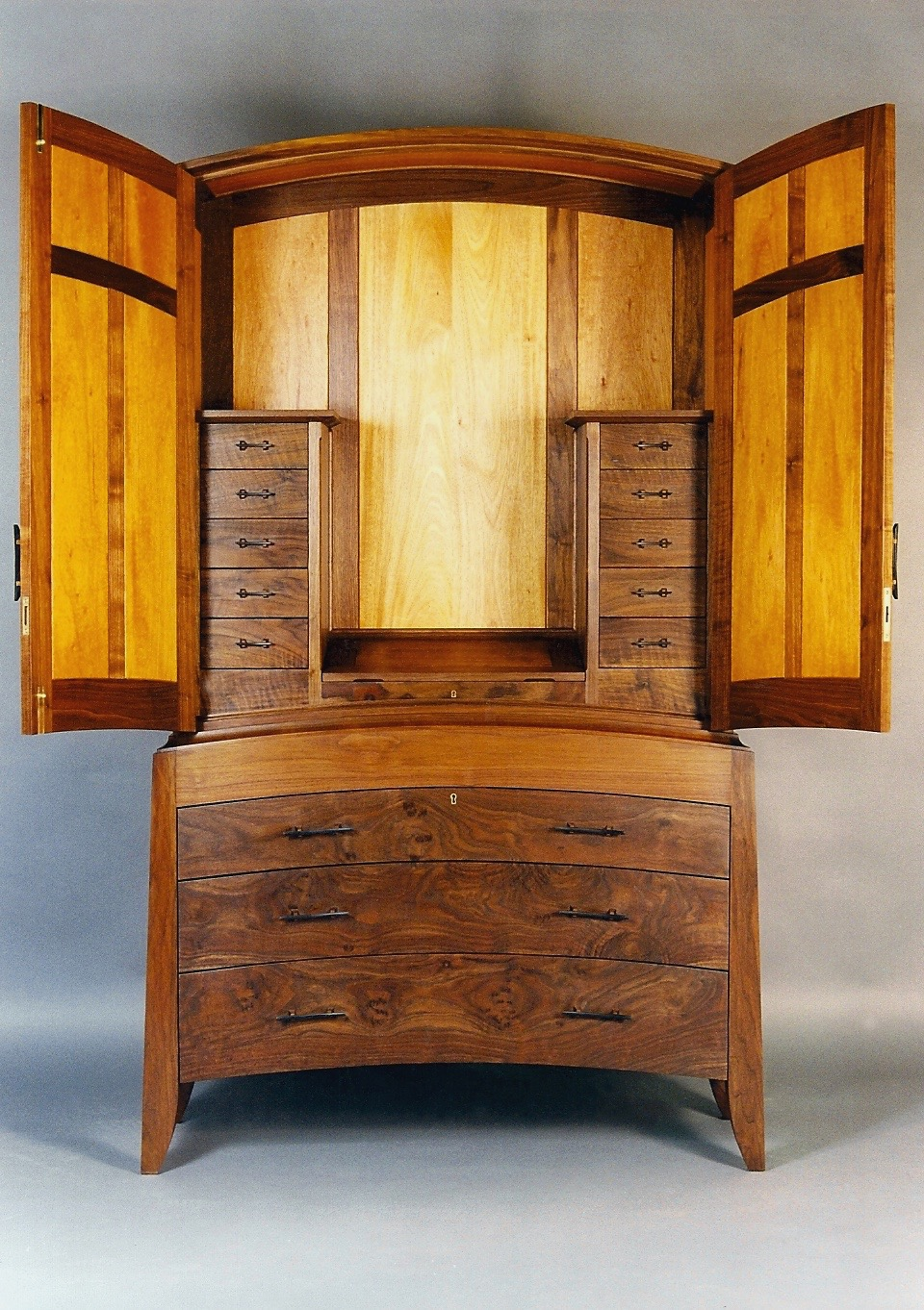 Harbor interior detail - designed to house a jewelry collection, hand carved bog oak pulls