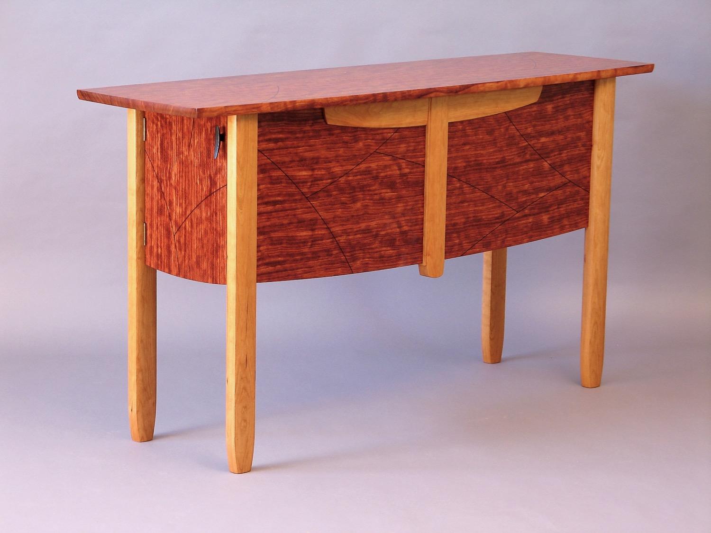 Scordato sidboard - cherry, bubinga, ebony inlay - table leaf storage