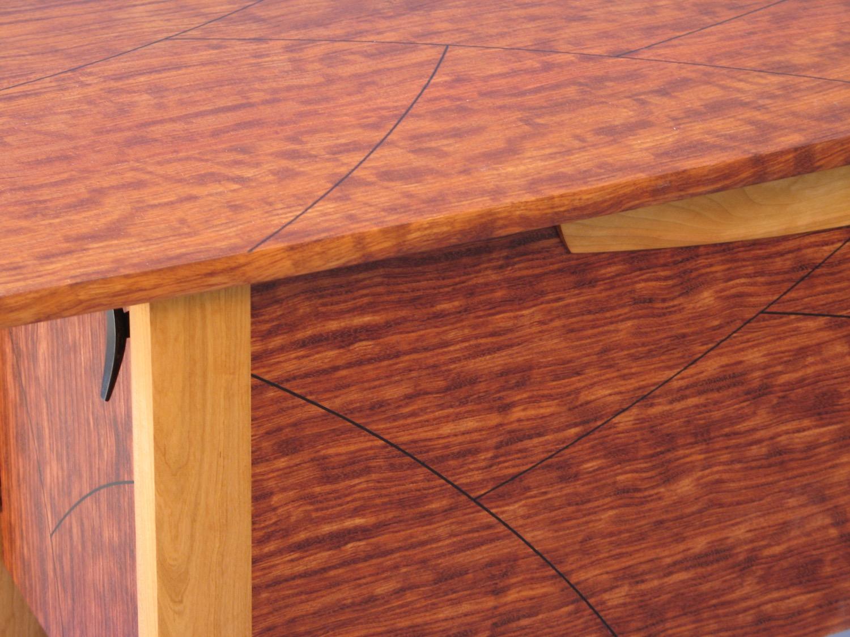 Scordato sideboard detail- cherry, bubinga, ebony inlay