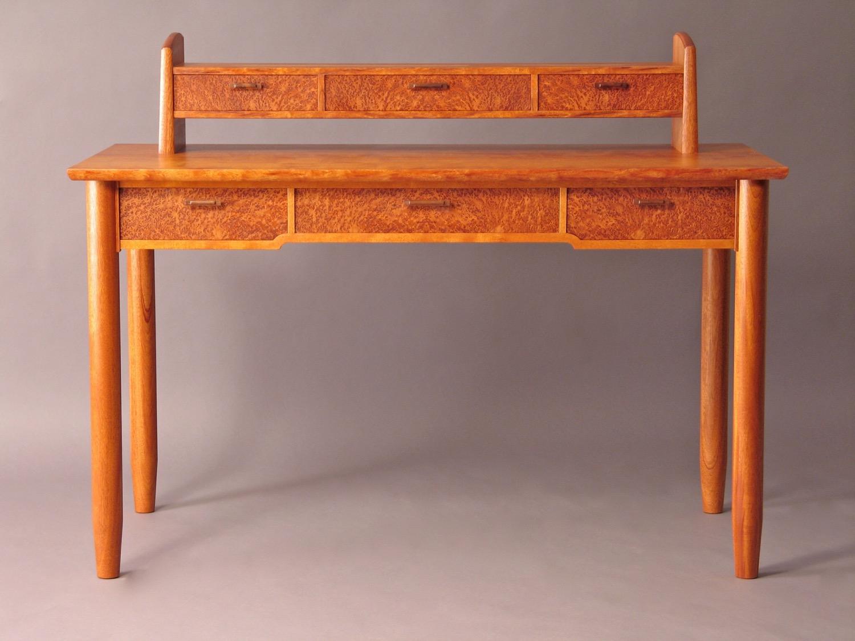 Howard desk - mahogany, redwood burl, hand- carved walnut pulls