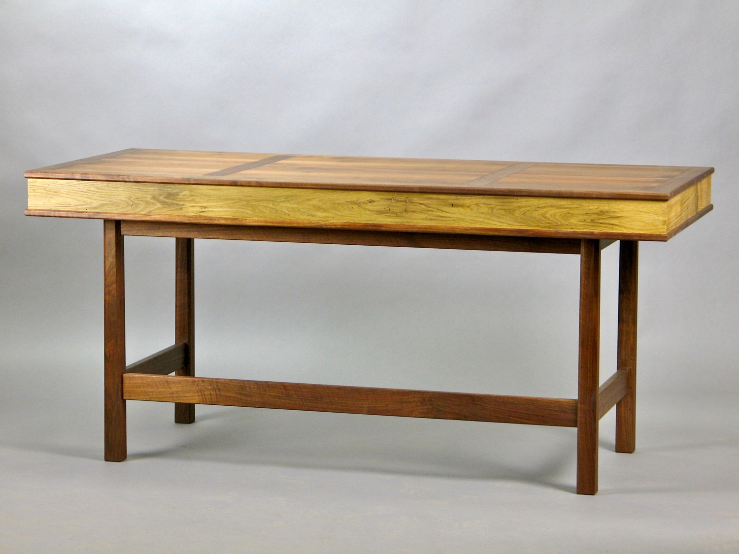 Laird desk - walnut cut from the clients property, reclaimed chestnut from the clients barn