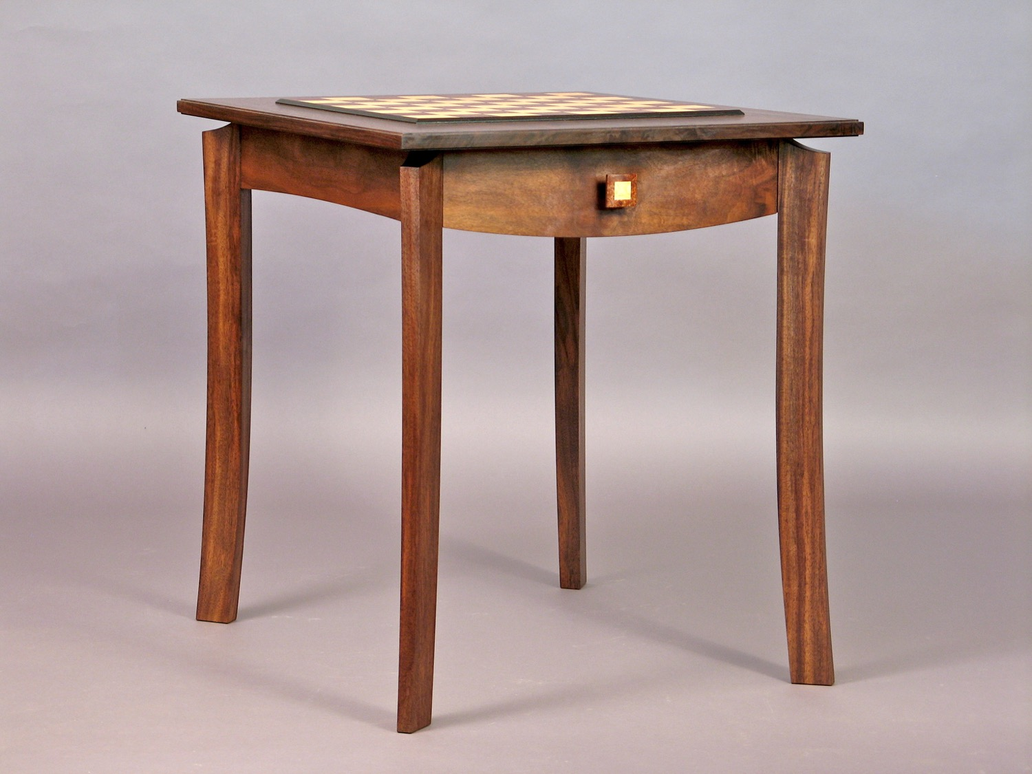Gold chess table - walnut, ash, elm burl, bog oak