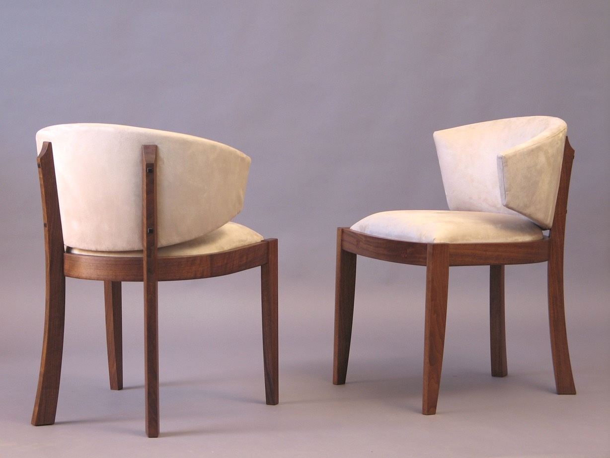 Gold chess chairs - walnut, upholstery