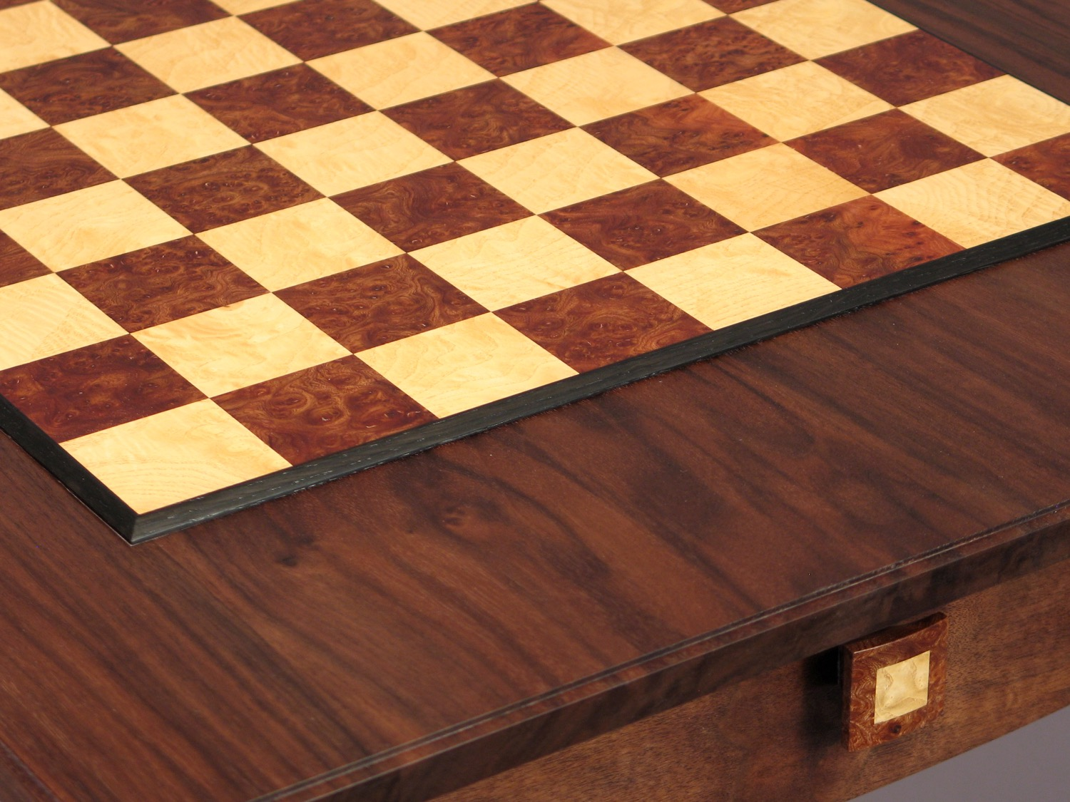 Gold chess table detail -walnut, ash, elm burl, bog oak