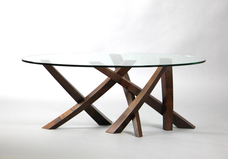 Laguna Low Table 1 - walnut, oval glass - sold