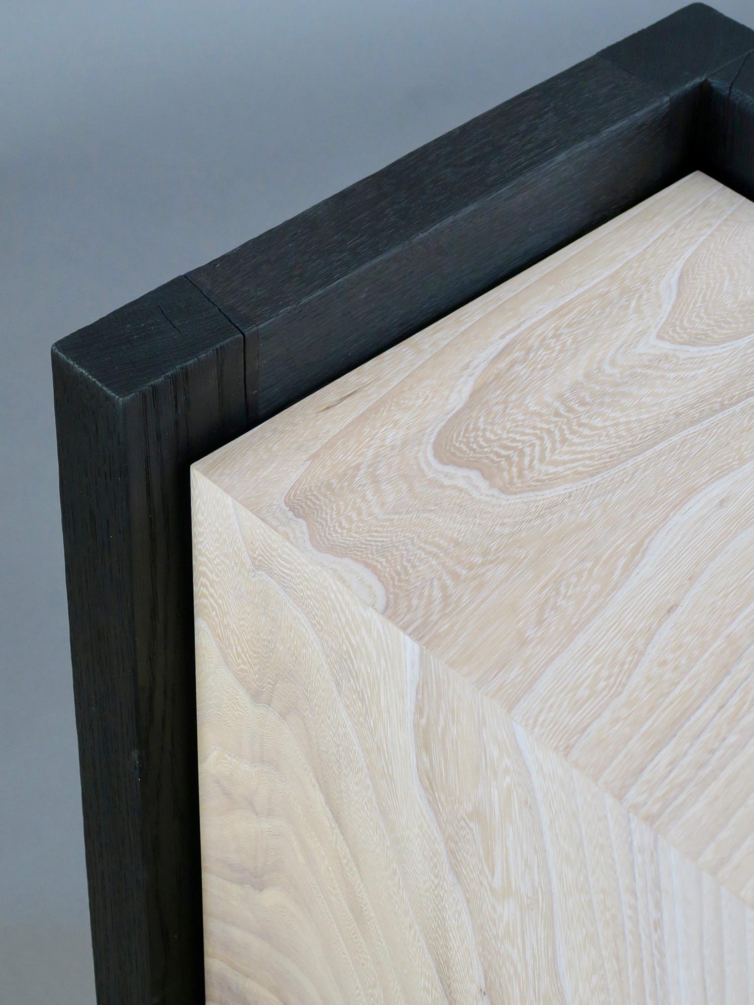 Havana side table 2 - cerused elm, scorched oak - top detail