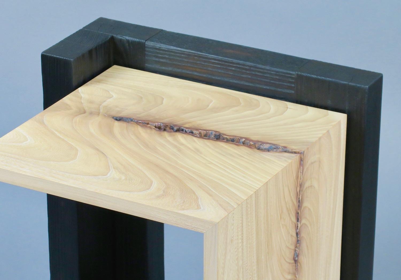 "Havana side table 4 - figured elm, scorched ash - w 19"" x d20"" x h 24"""