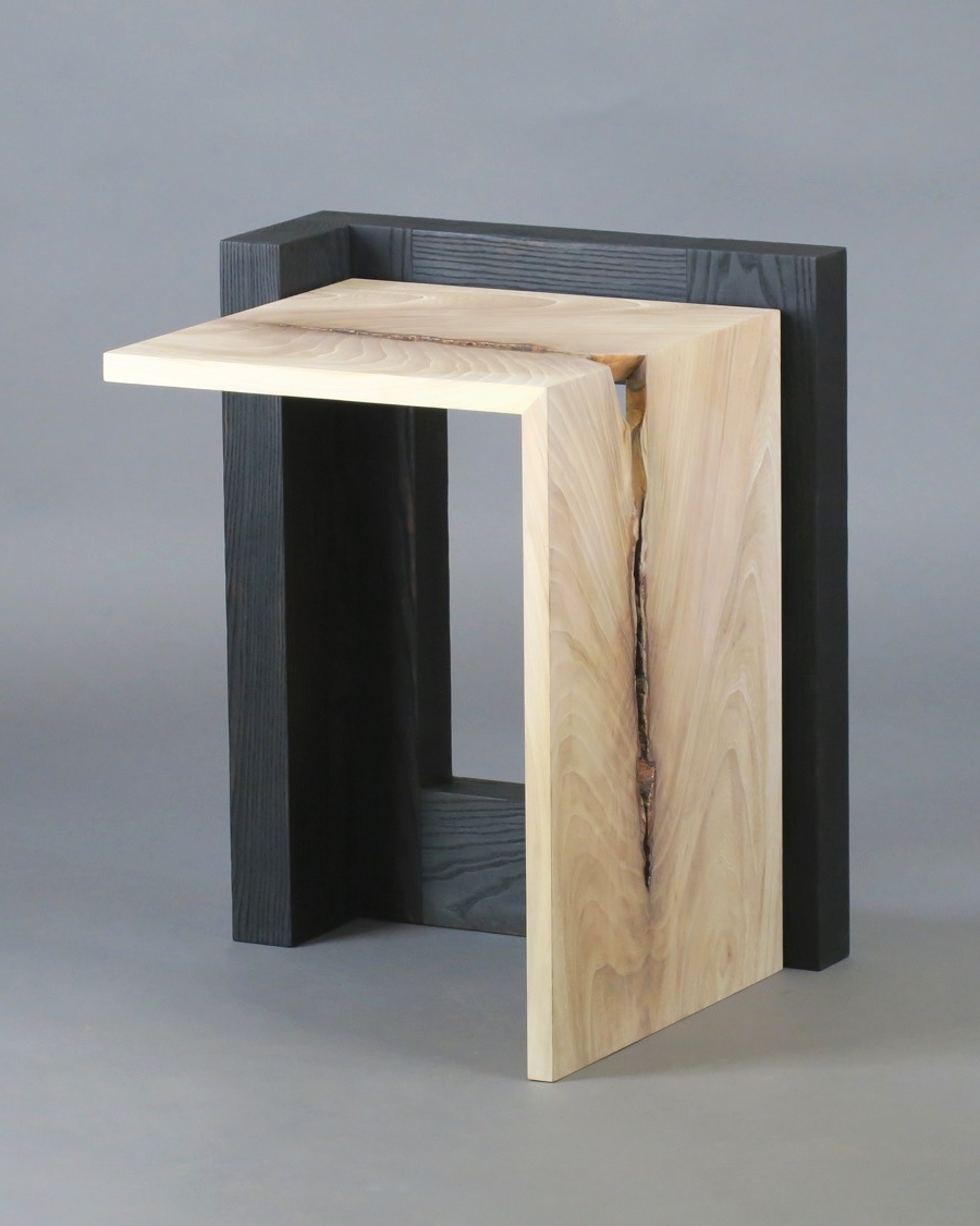 "Havana side table 2 - figured elm, scorched ash - w 19"" x d20"" x h 24"""