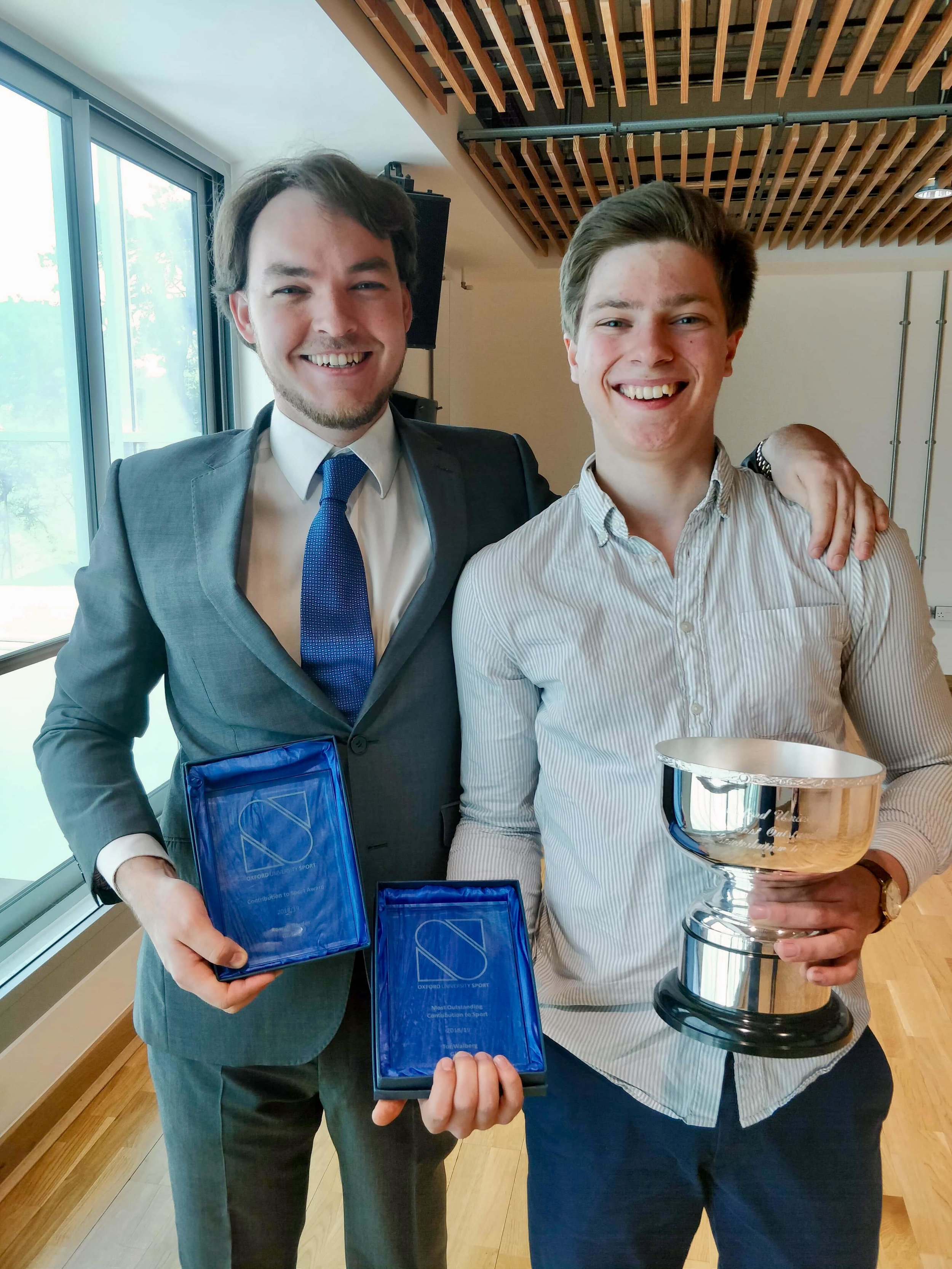 May 2019 - Sports Awards - Congratulations to Rowan and Tor for winning Contribution to Sports Award at Oxford University Sports Ball hosted by Oxford University Sports Federation.