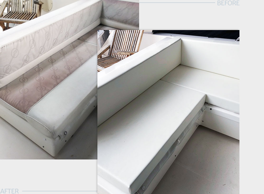 Flybridge Cushioning - The flybridge of this boat had badly worn and aged seating cushions. MADE Marine created a simpler, lower maintenance design and helped the owner select new cushioning foam and outdoor material for a fresh, clean look.LEARN MORE