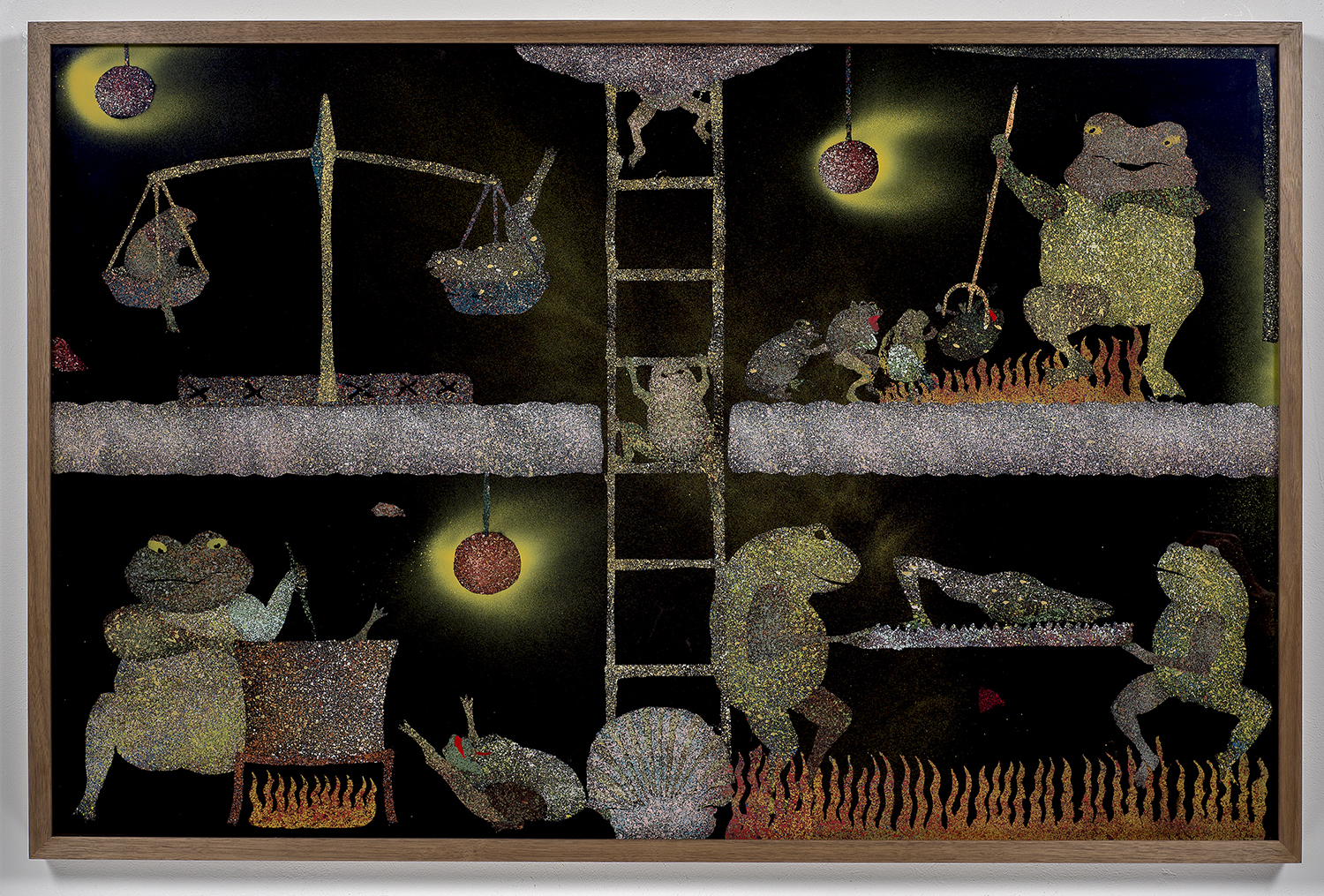 Vision of the    purgatorial ladder    with frogs and toads   hinterglasmalerei  acrylic on glass   walnut frame  2017  120x100cm