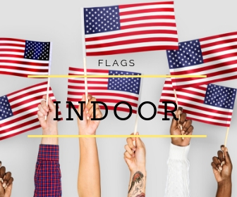 Indoor Parade Flag Sets   All Sets include a brass plated metal eagle ornament, a gold cord & tassel, a 2-piece pole with brass screw joint and a gold anodized Endura Floor Stand. All complete sets also include a U.S Nylon Flag with embroidered starts and sewn stripes, pole hem, leather tabs and gold fringe.  Click here for complete options.