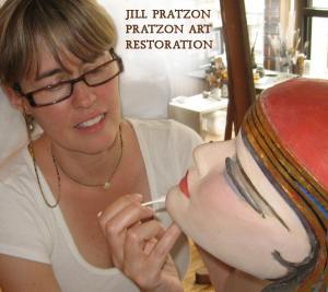 Jill Pratzon restoring Benda mask.jpg