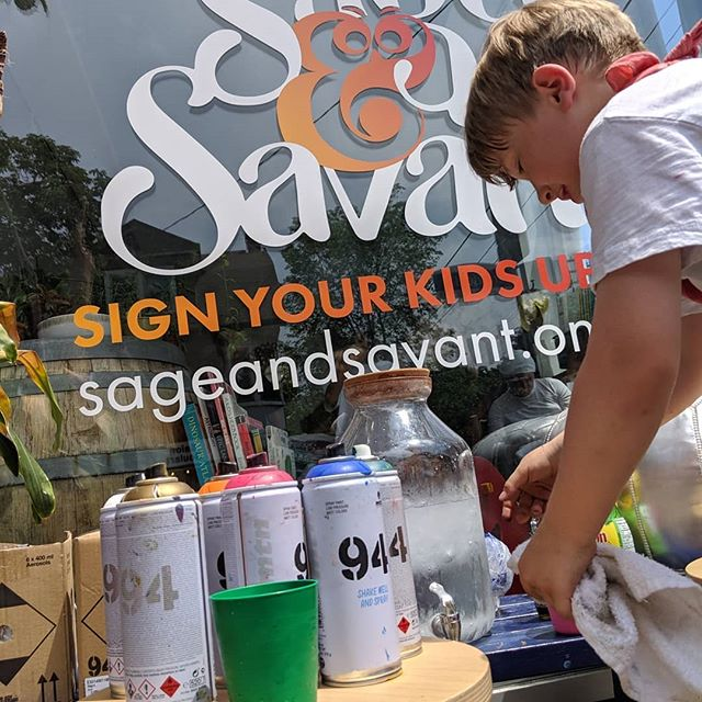 Today was EPIC! We took over the sidewalk for some pretty awesome graffiti action. Thanks to @diego_bergia for sharing his passion with us! #changemakersrulebreakers  #sageandsavanttoronto  #coworkingforkidstoronto #socialinnovators #artistsatwork #norulestoinnovation #summercampfun